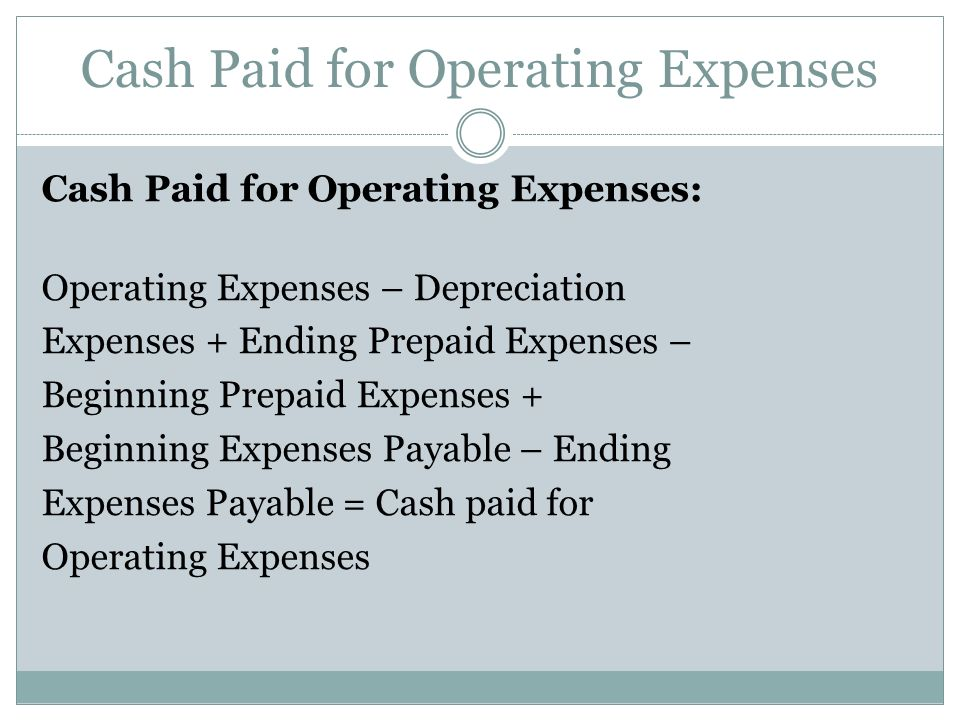 Cash Paid for Operating Expenses
