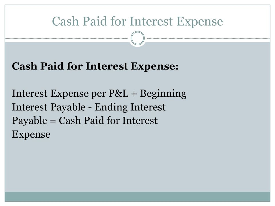Cash Paid for Interest Expense