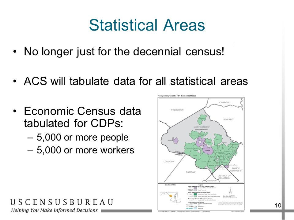Statistical Areas No longer just for the decennial census!