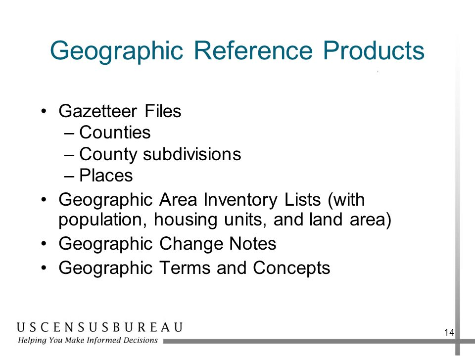 Geographic Reference Products