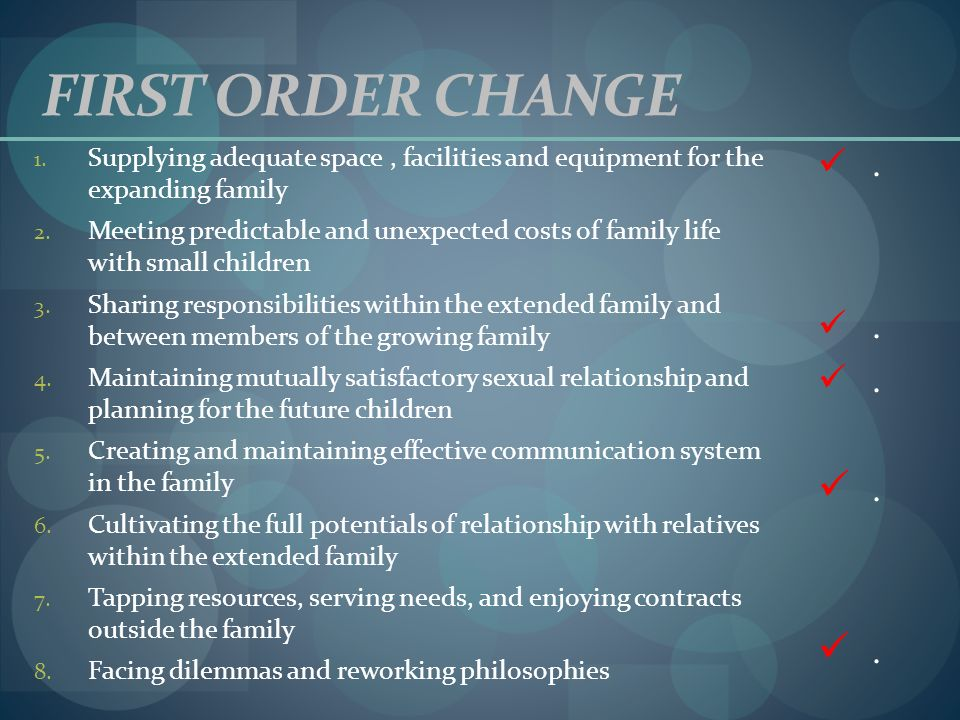 FIRST ORDER CHANGE Supplying adequate space , facilities and equipment for the expanding family.
