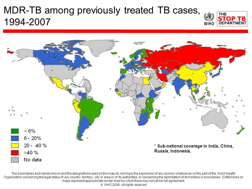 MDR-TB among previously treated TB cases, 1994-2007