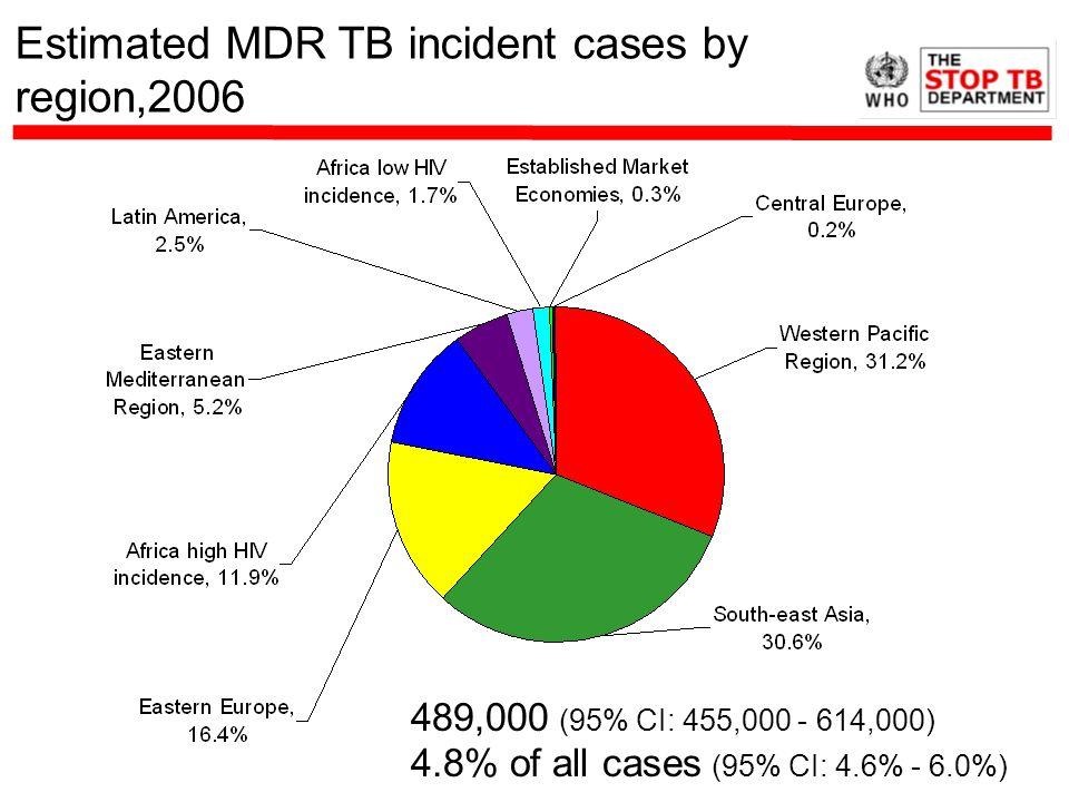 Estimated MDR TB incident cases by region,2006