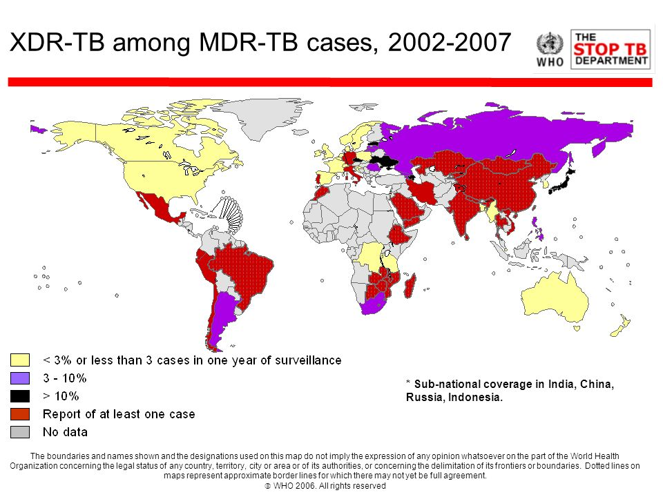 XDR-TB among MDR-TB cases, 2002-2007