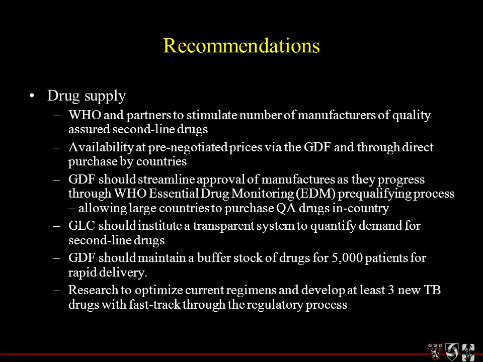 Recommendations Drug supply