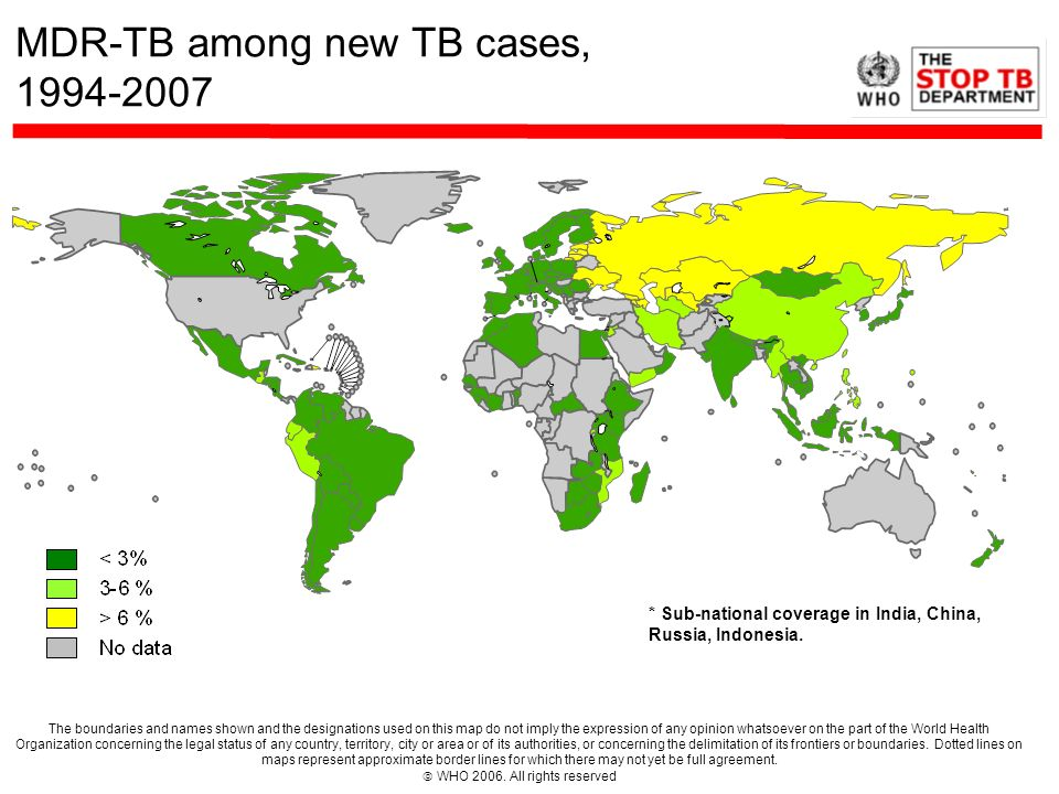 MDR-TB among new TB cases, 1994-2007