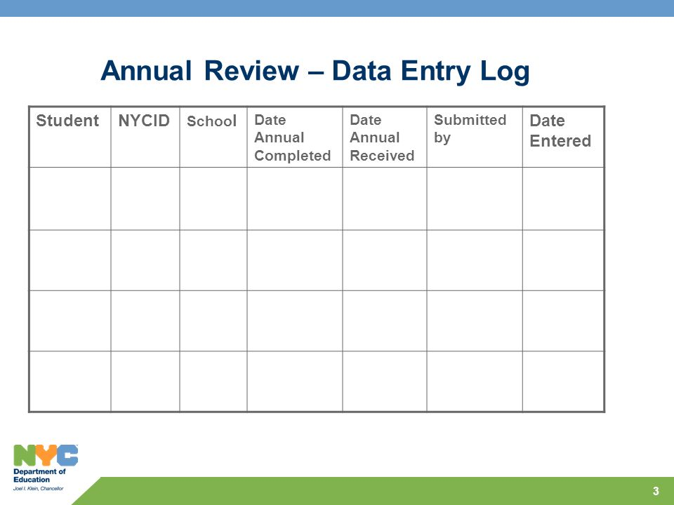 Annual Review – Data Entry Log