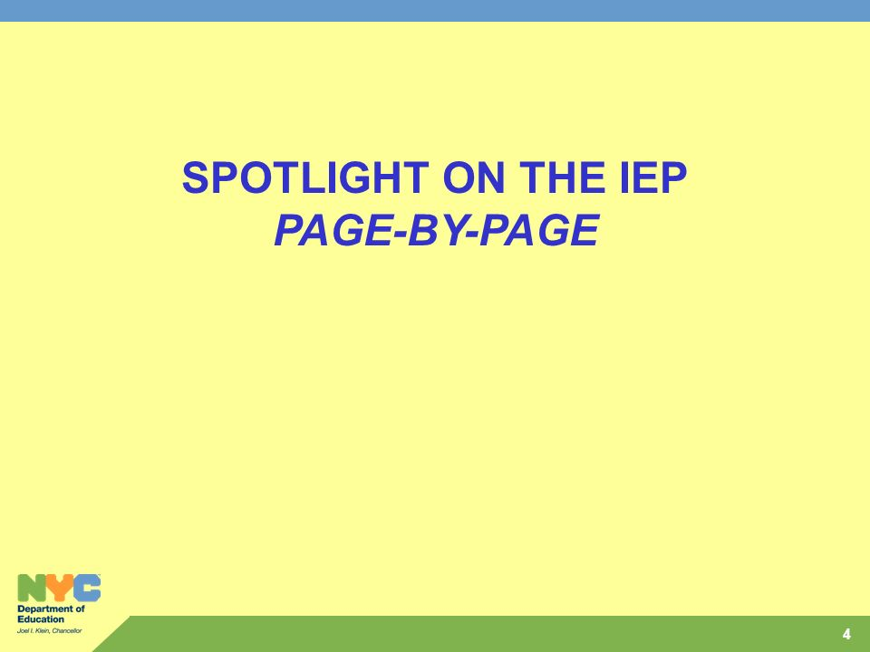 SPOTLIGHT ON THE IEP PAGE-BY-PAGE