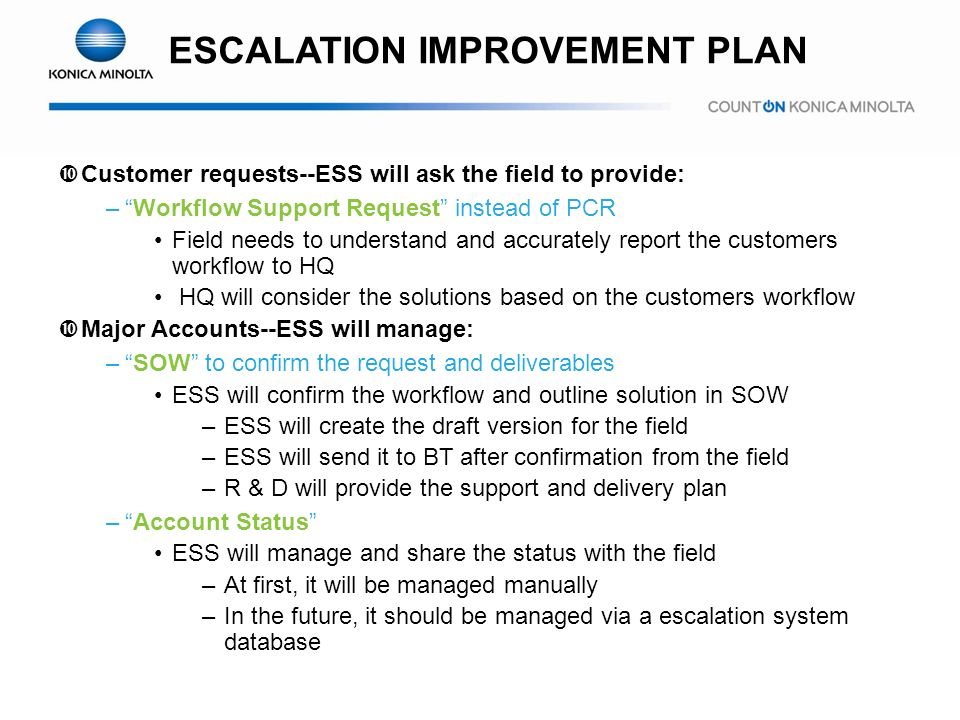 ESCALATION IMPROVEMENT PLAN