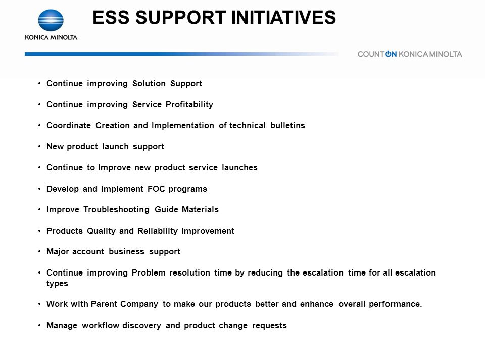 ESS SUPPORT INITIATIVES