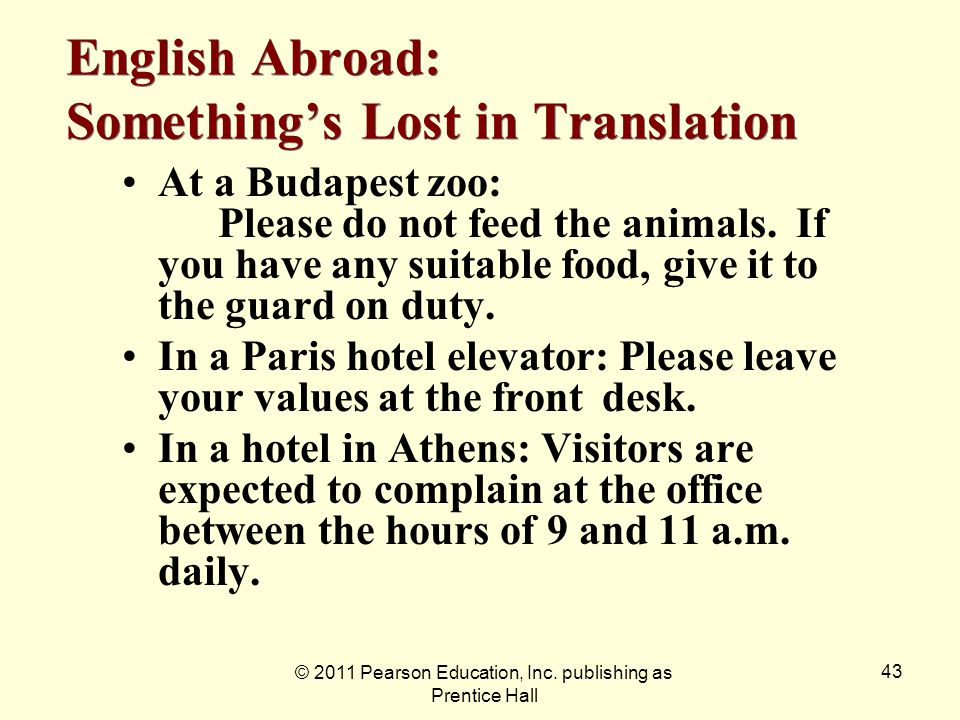 English Abroad: Something's Lost in Translation