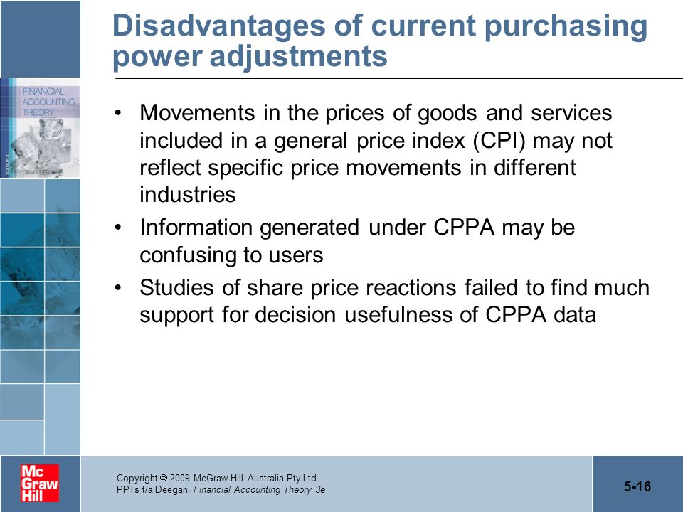 Disadvantages of current purchasing power adjustments