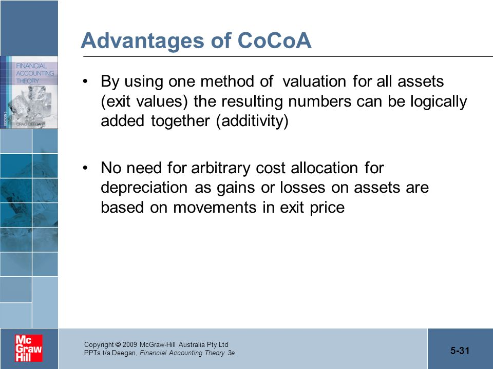 Advantages of CoCoA By using one method of valuation for all assets (exit values) the resulting numbers can be logically added together (additivity)