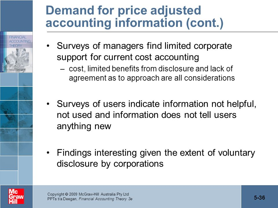 Demand for price adjusted accounting information (cont.)