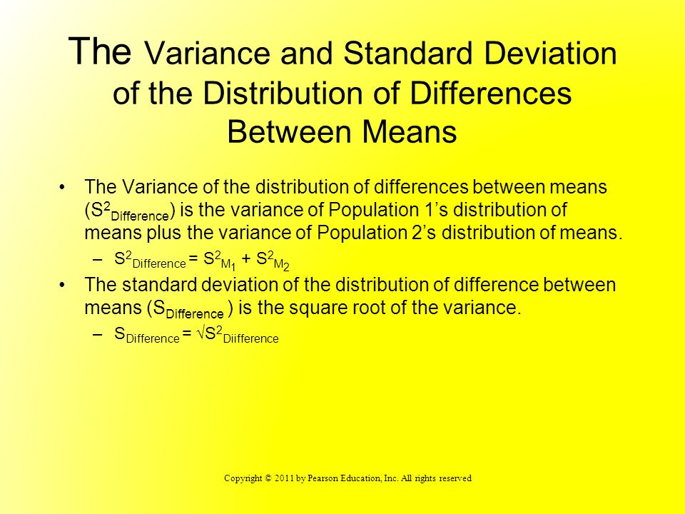 The Variance and Standard Deviation of the Distribution of Differences Between Means