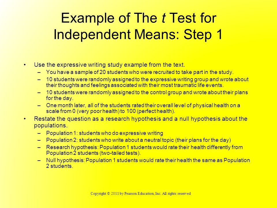 Example of The t Test for Independent Means: Step 1