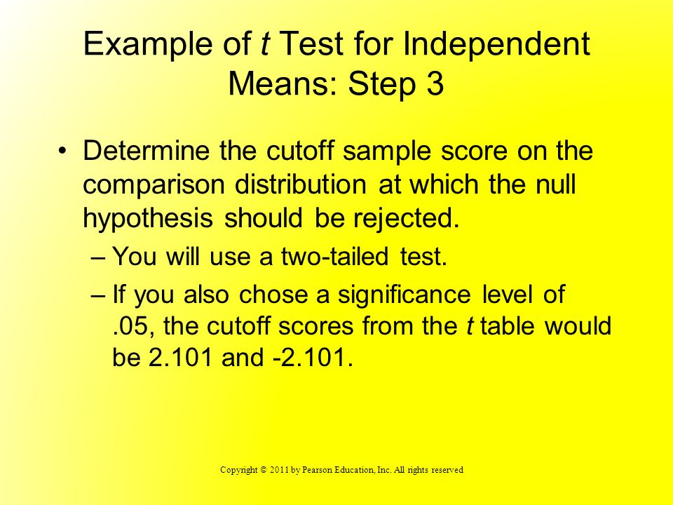 Example of t Test for Independent Means: Step 3