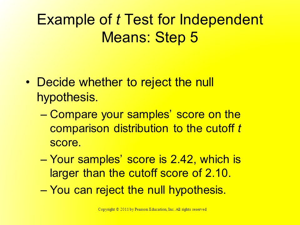 Example of t Test for Independent Means: Step 5