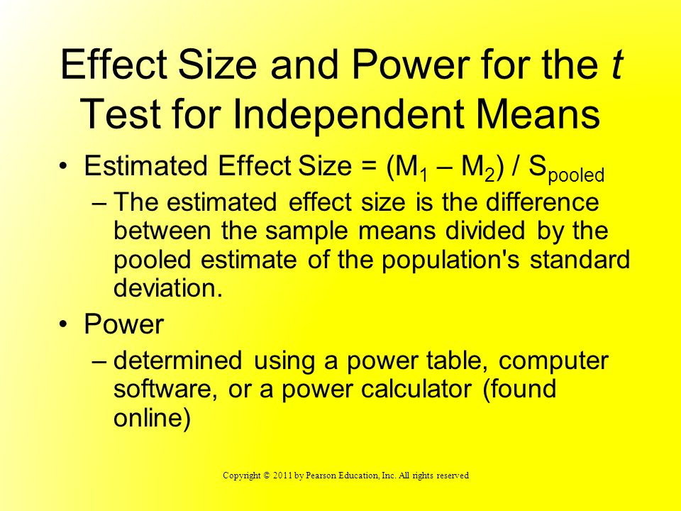 Effect Size and Power for the t Test for Independent Means