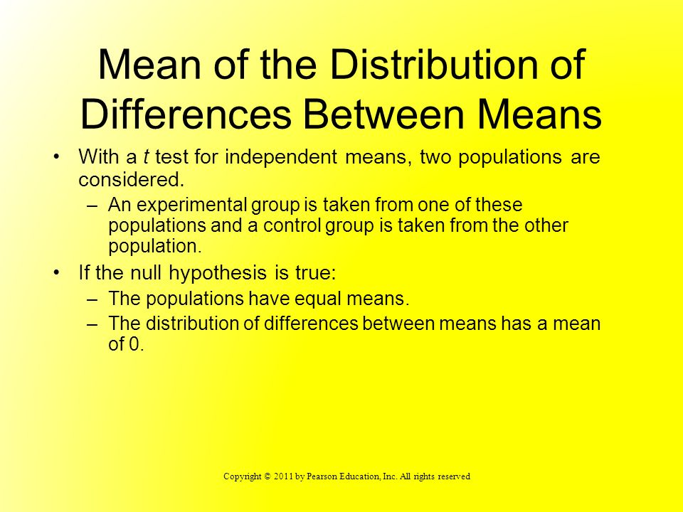 Mean of the Distribution of Differences Between Means