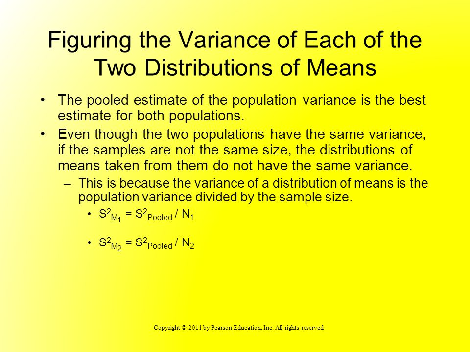 Figuring the Variance of Each of the Two Distributions of Means