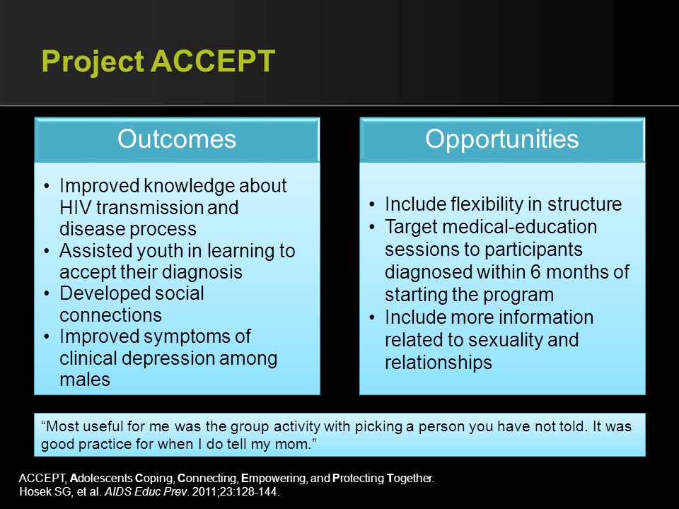 Project ACCEPT Outcomes Opportunities
