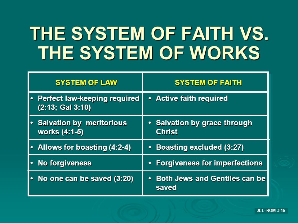 THE SYSTEM OF FAITH VS. THE SYSTEM OF WORKS