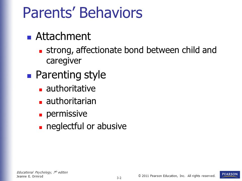 Parents' Behaviors Attachment Parenting style