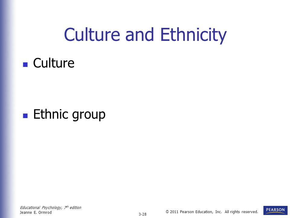 Culture and Ethnicity Culture Ethnic group
