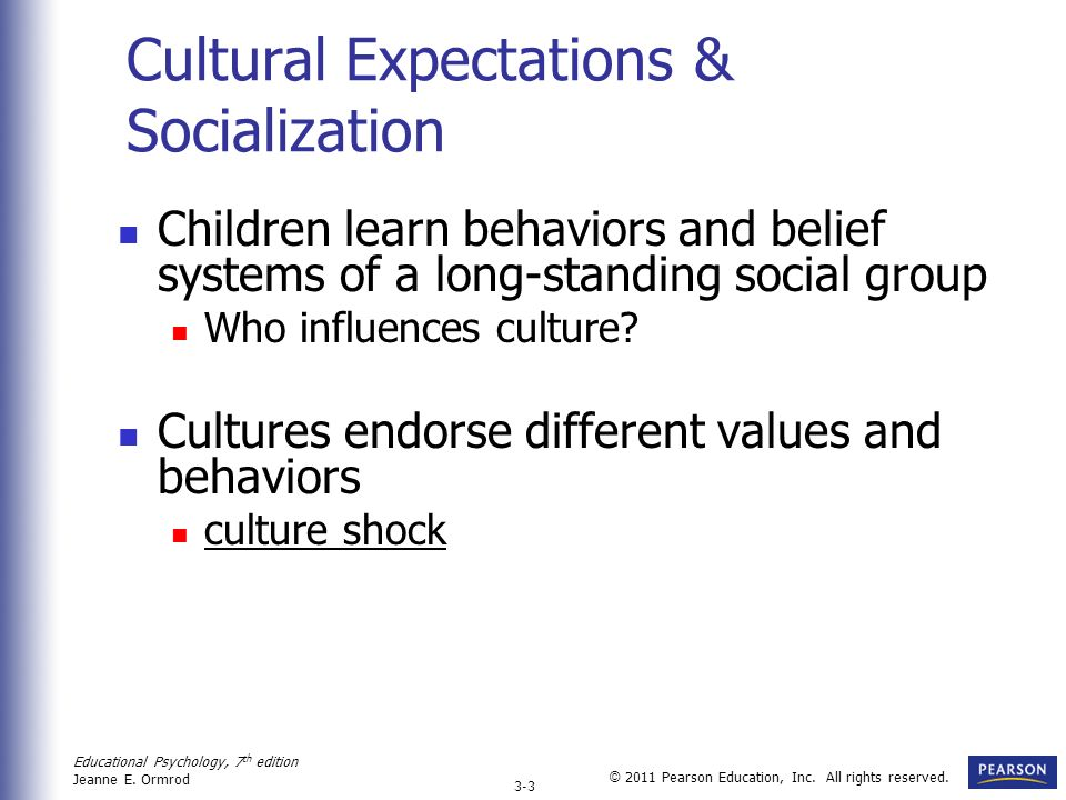 Cultural Expectations & Socialization