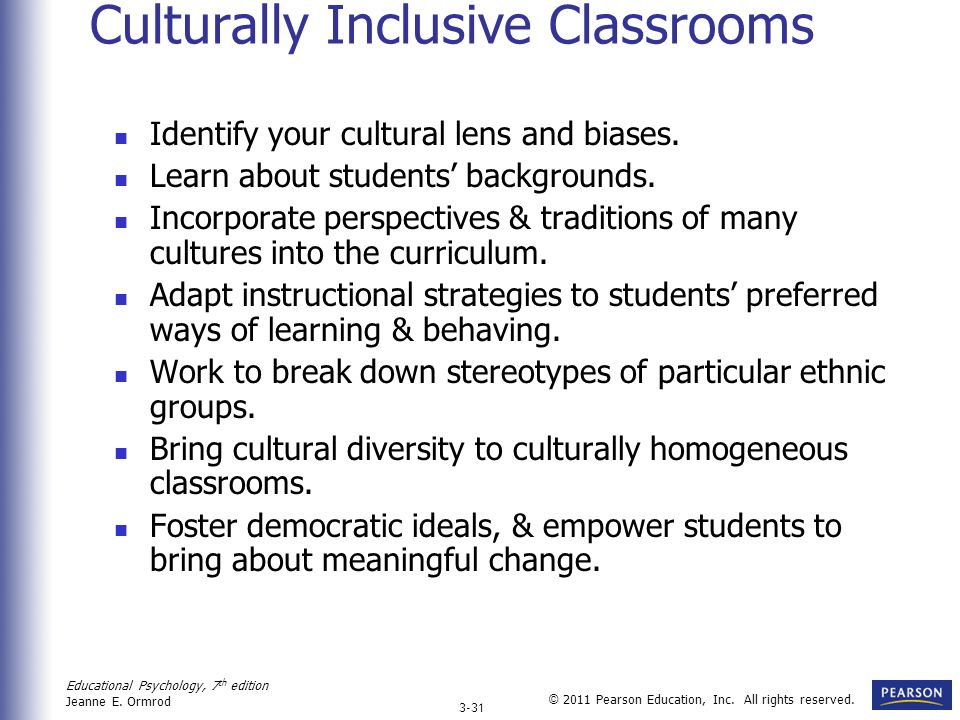 Culturally Inclusive Classrooms