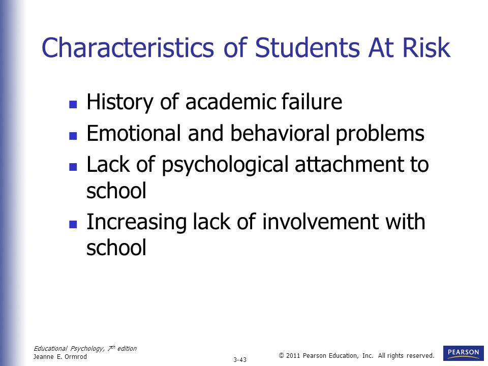 Characteristics of Students At Risk