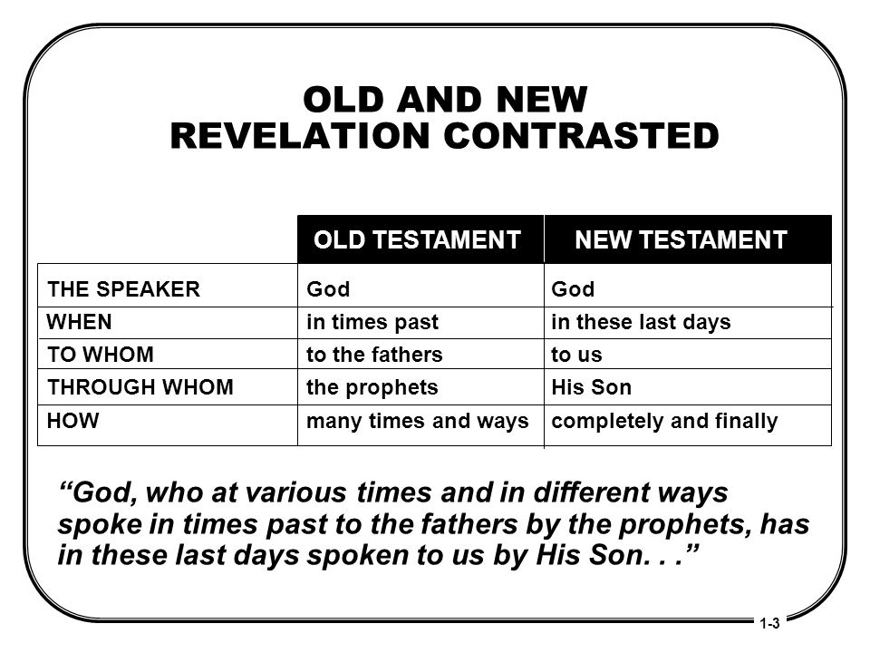 OLD AND NEW REVELATION CONTRASTED