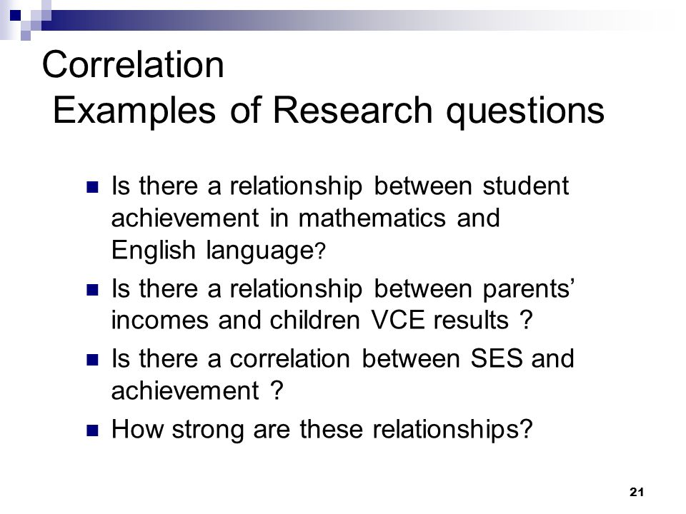 Correlation Examples of Research questions