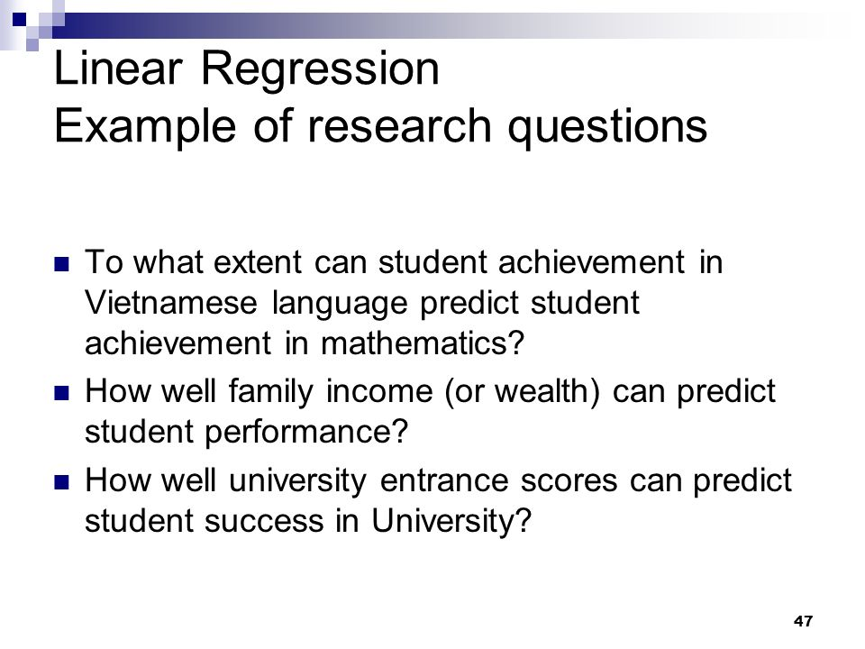 Linear Regression Example of research questions