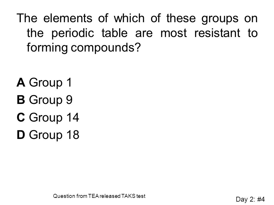 The elements of which of these groups on the periodic table are most resistant to forming compounds