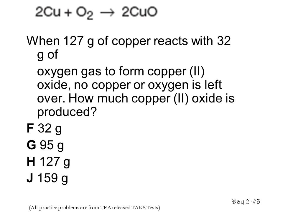 When 127 g of copper reacts with 32 g of