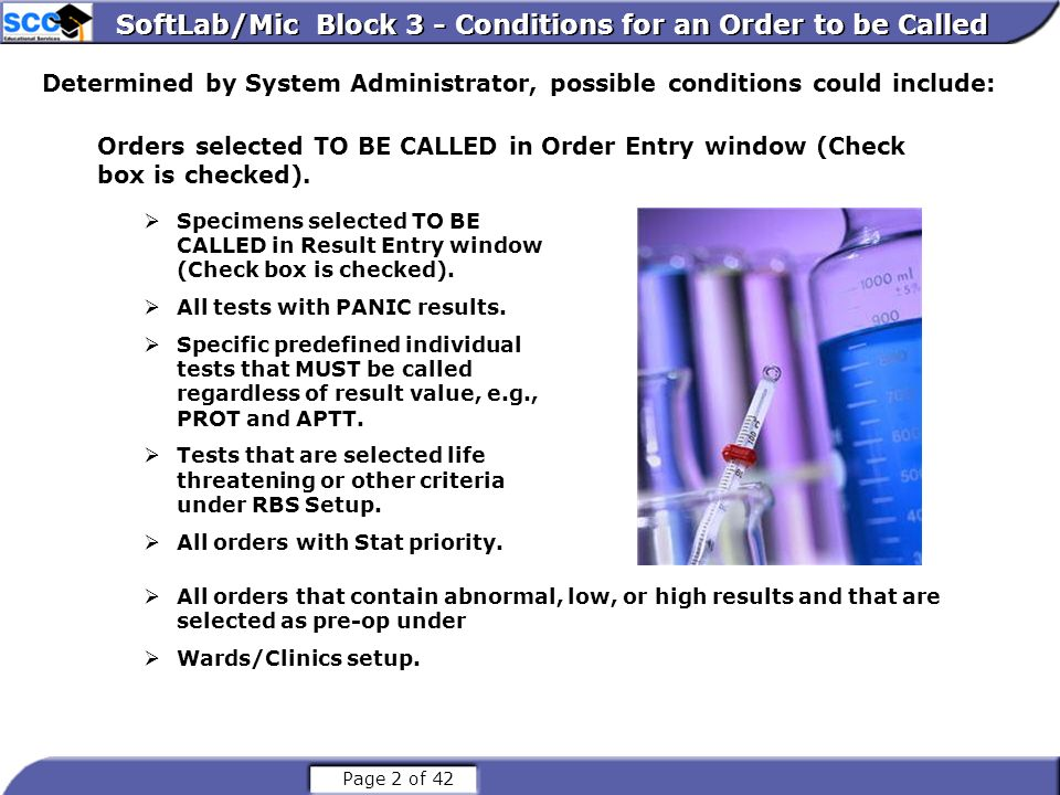 SoftLab/Mic Block 3 - Conditions for an Order to be Called