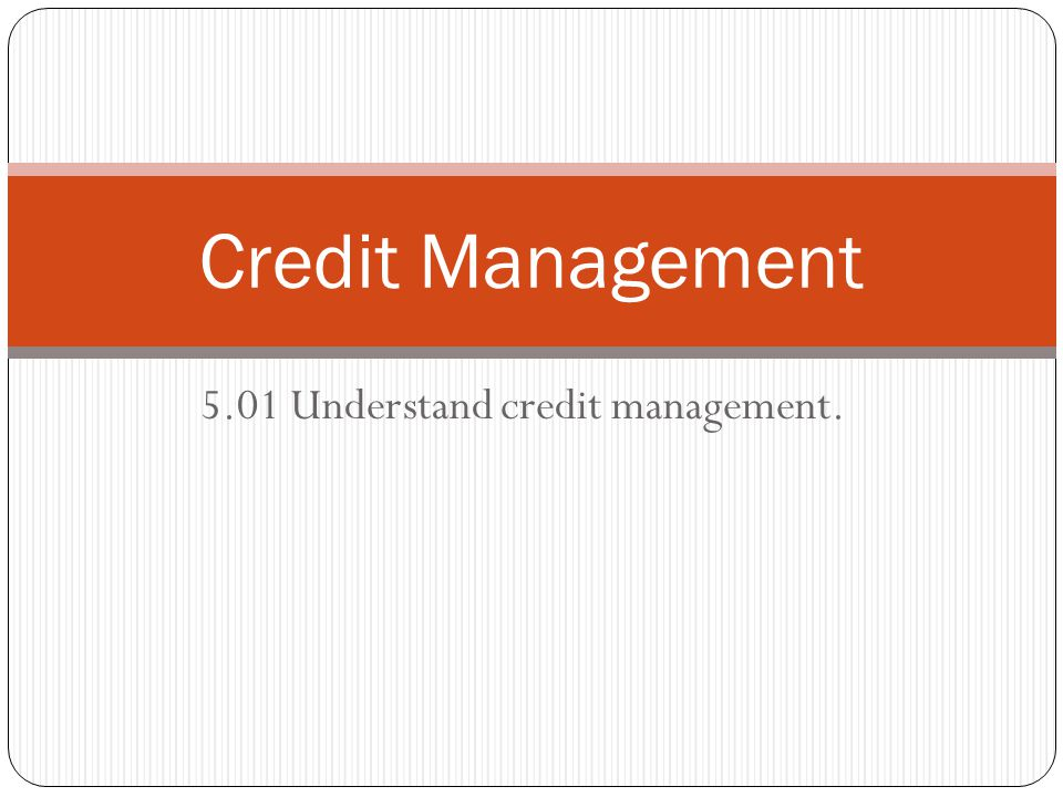 5.01 Understand credit management.