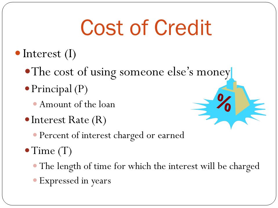 Cost of Credit Interest (I) The cost of using someone else's money