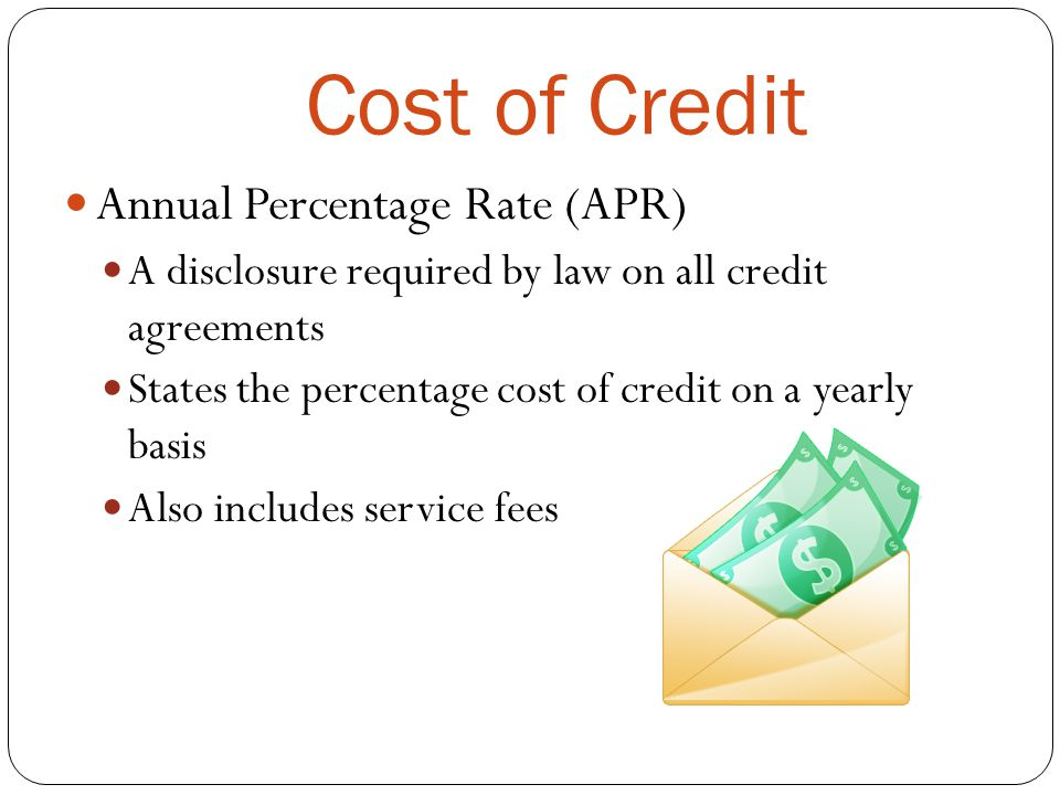 Cost of Credit Annual Percentage Rate (APR)