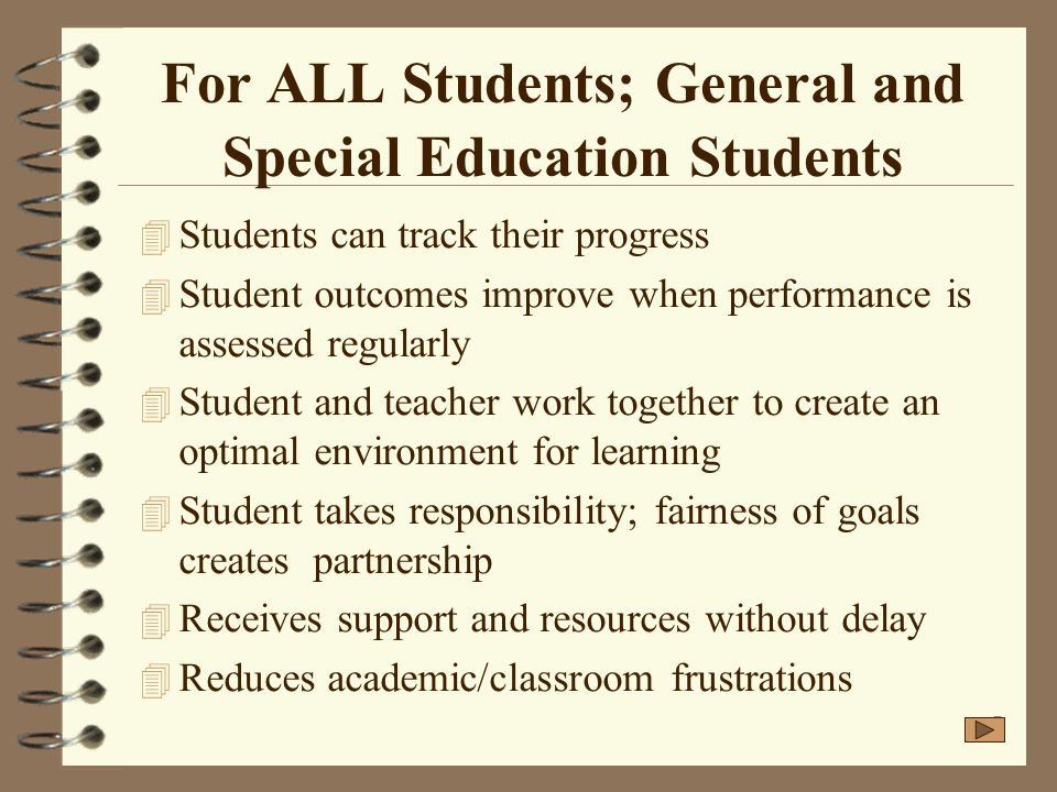 For ALL Students; General and Special Education Students
