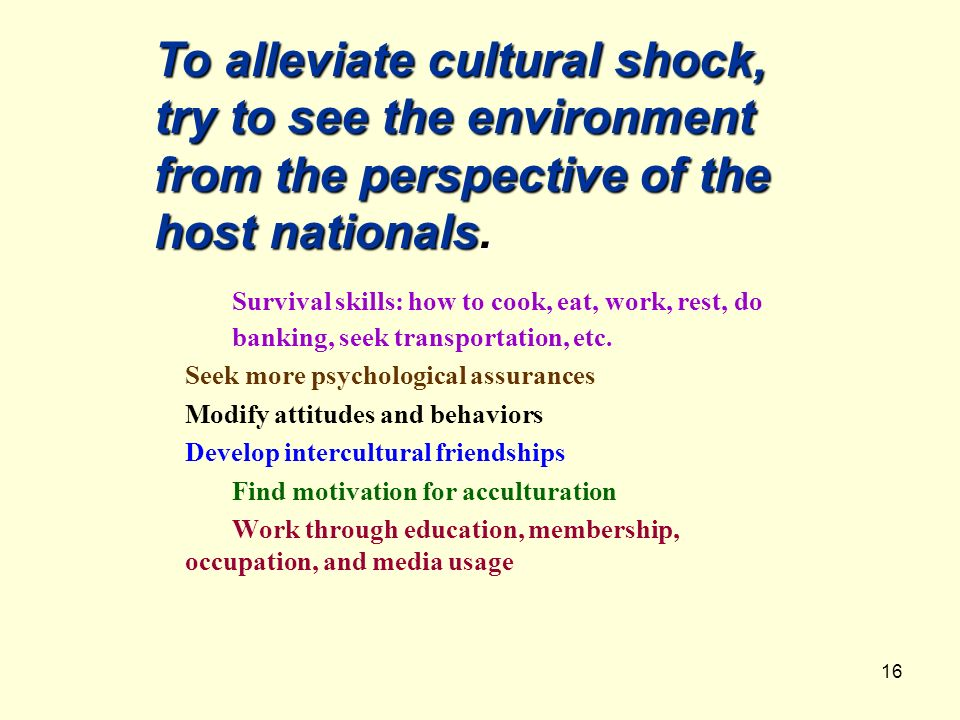 To alleviate cultural shock, try to see the environment from the perspective of the host nationals.
