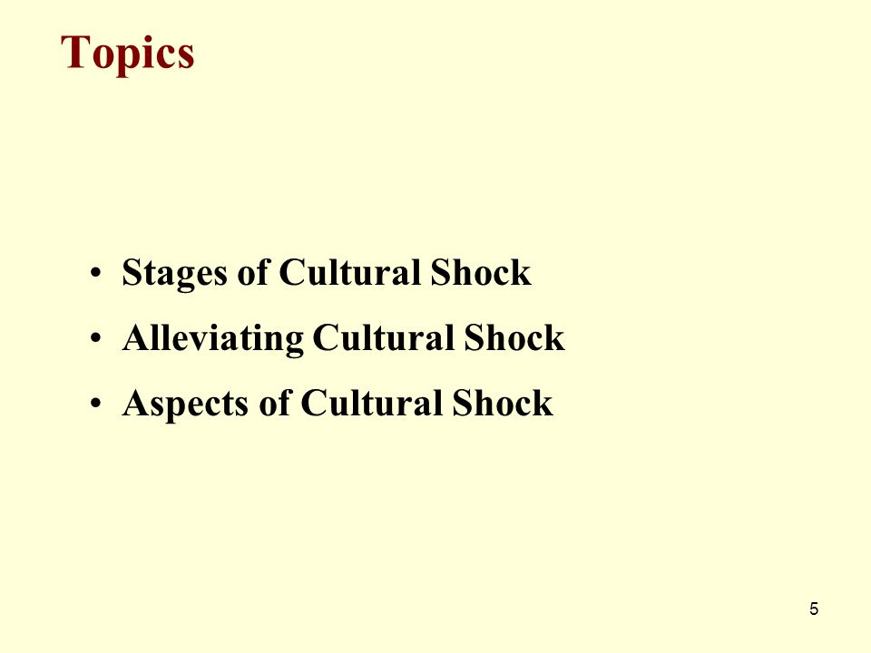 Topics Stages of Cultural Shock Alleviating Cultural Shock