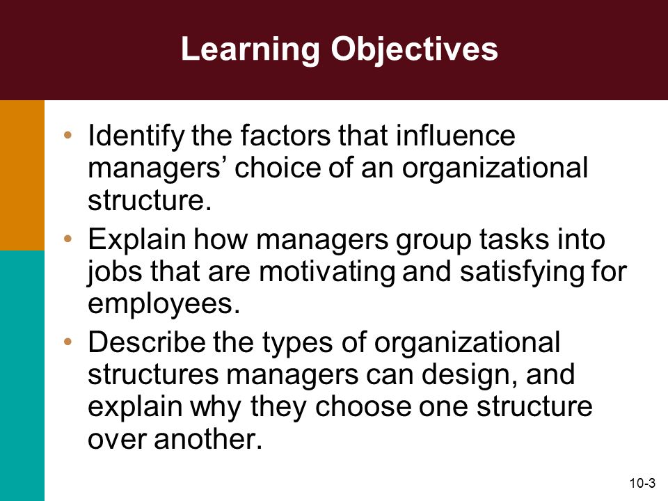 Learning Objectives Identify the factors that influence managers' choice of an organizational structure.
