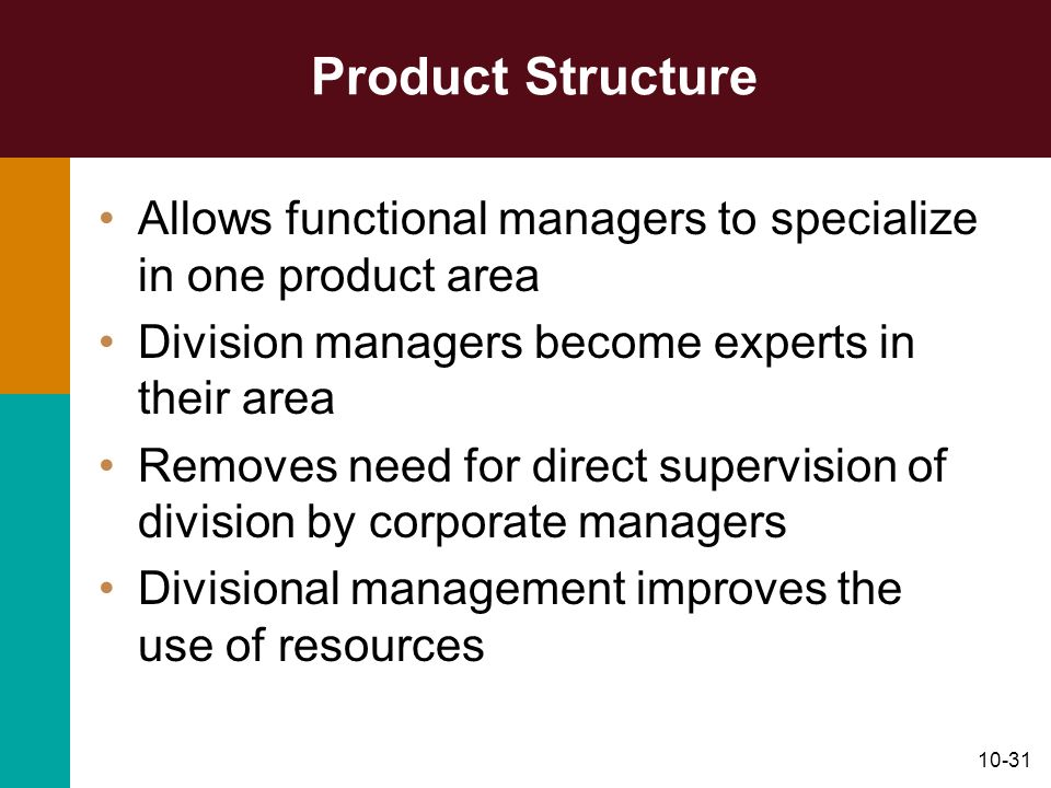 Product Structure Allows functional managers to specialize in one product area. Division managers become experts in their area.