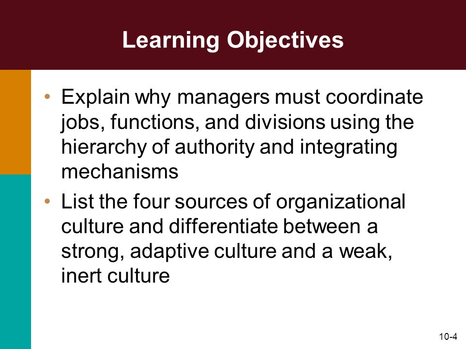 Learning Objectives Explain why managers must coordinate jobs, functions, and divisions using the hierarchy of authority and integrating mechanisms.