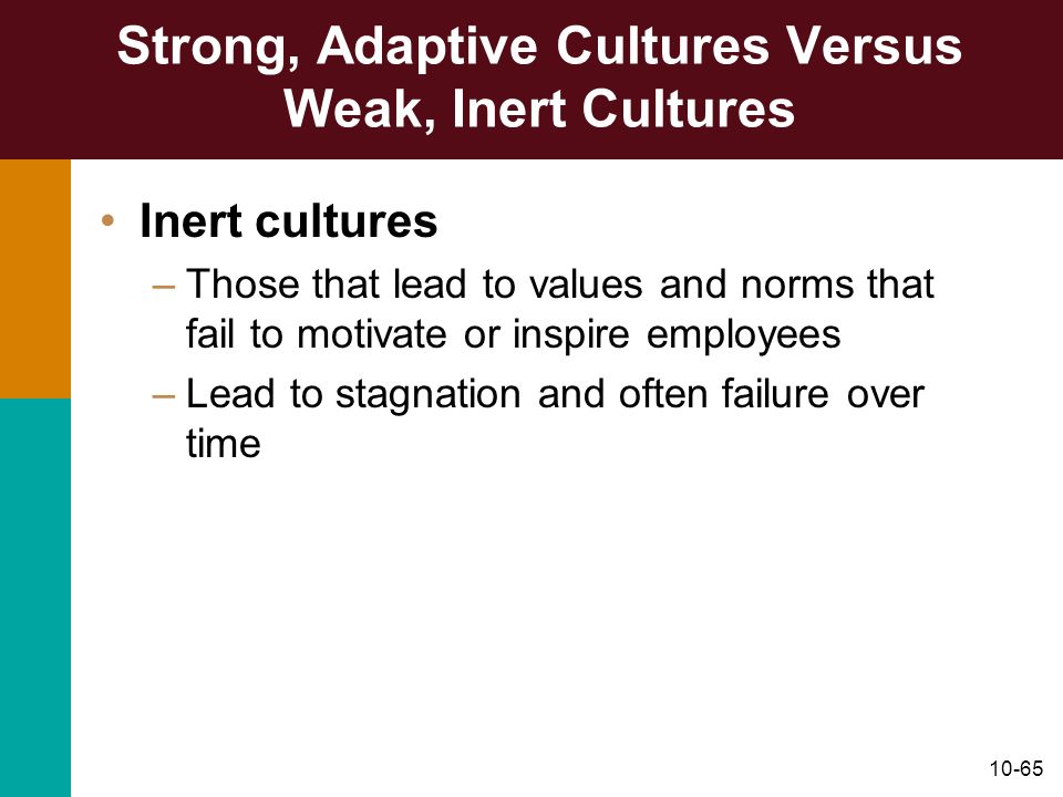 Strong, Adaptive Cultures Versus Weak, Inert Cultures