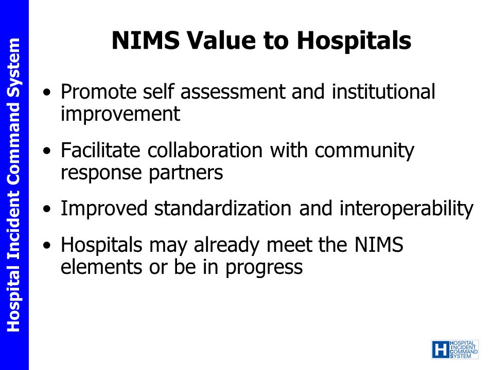 NIMS Value to Hospitals