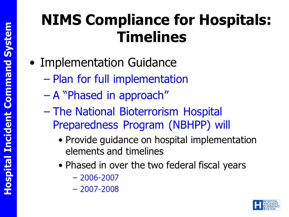 NIMS Compliance for Hospitals: Timelines